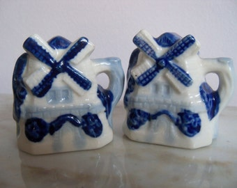 Occupied Japan Salt and Pepper Shakers Blue and White Windmill