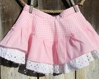 Pink Gingham Twirl Skirt