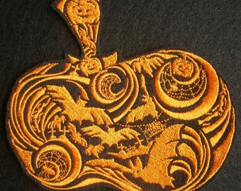 Large Embroidered Very Ornate Pumpkin Iron On Applique Patch, Halloween, Bats, Spiders, Spider Webs, Bats and Swirls