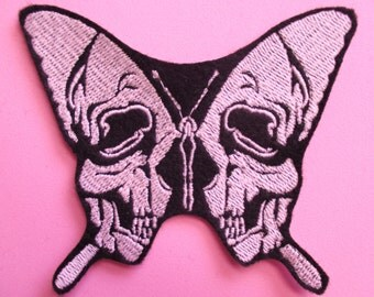 Small 4 X 3 1/2 GLOW in the dark Embroidered Butterfly Skull  Applique Patch, Iron On or Sew On, Butterfly Skull, Glows in the Dark Patch