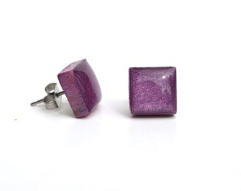 Purple plum Square Stud Earrings. Purple stud earrings. Purple Studs. Square wood studs. Starlight Woods.