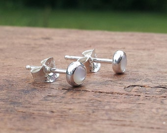 4mm Mother of Pearl Stud Post Earrings Fine Sterling Silver Shiny - Little Bits of Color