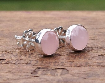 6mm Rose Quartz Gemstone Stud Post Earrings Fine Sterling Silver Shiny Finish - Little Bits of Color