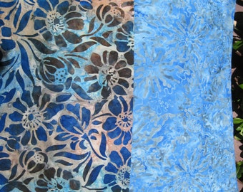 """14"""" x 14"""" Fine Batiks PILLOW COVER -  Soothing Cornflower Blue Florals and Leaves"""