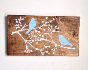 Love Birds - Painted on Reclaimed Wood