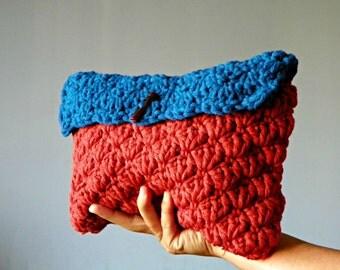 Crochet clutch, crochet make up bag, handmade clutch, handbag, small, sienna, blue, christmas gift idea