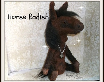 PDF EPattern  to make 7.5 inch 'Horse Radish'   Vintage Style Viscose or Mohair Pony by Artist KarynRuby