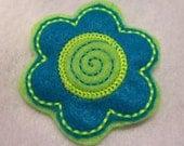Blue and Lime Green  felt flower barrette,  girls hair accessories, hair barrettes, hair clips