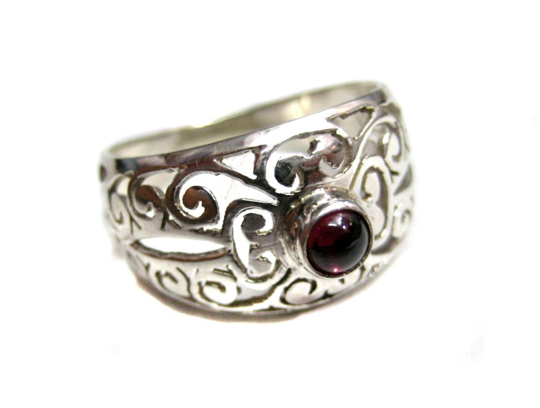 925 sterling silver handmade celtic ring band studded