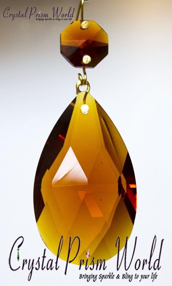 10 Amber Top Quality Glass Chandelier Teardrop Crystal Prisms