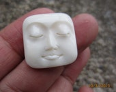 Fabulous Hand Carved square face with closed eyes  Cabochon, Not drilled, buffalo bone  Cabochon for Setting , embellishment S3252