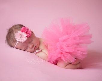 Tutu and Headband Set - Perfectly Pink - Pearl Crystal Flower Headband - Newborn Tutu Set - Girls Infant Baby Child Toddler Tutu