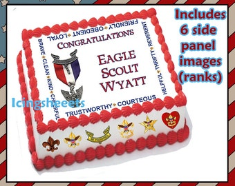 Eagle Scout Boy Scout ranks Edible icing custom cake  transfer decal  decorations frosting top Court of Honor