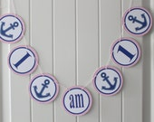 "ANCHOR'S AWAY Nautical Girl Themed ""I am 1"" Highchair 1st Birthday Banner - Party Packs Available"