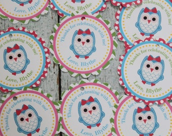LITTLE OWL Theme Birthday or Baby Shower Favor Tags or Stickers Set of 12 {One Dozen} - Party Packs Available
