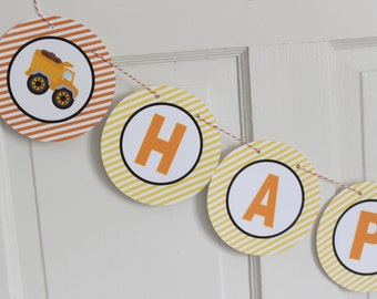 CONSTRUCTION ZONE Happy Birthday or Baby Shower Party Banner - Party Packs Available