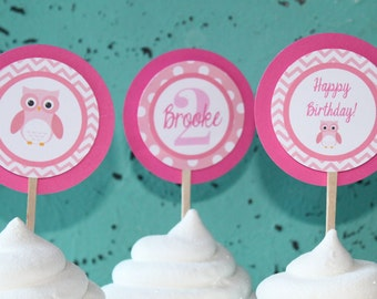 SWEET OWL Theme Birthday or Baby Shower Cupcake Toppers Pink White Set of 12 {One Dozen}  -Party Packs Available