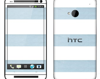 HTC One M7 M8 Case Decal Skin Cover - Blue Stripes
