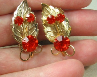 Fire Red Orange Rhinestone Earring
