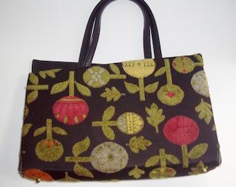 Vintage Carpet Handbag Fall Accessory Black Floral Stylecraft Miami 1960's