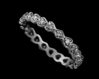 Hear Kite Shape Diamond Wedding Ring, Eternity Wedding Ring, Milgrain Engraved Wedding Band, Antique Style Love Symbol Women's Wedding Ring