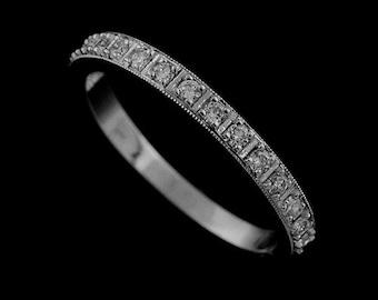 950 Platinum Engraved Half-Way 0.13CT Prong Set Diamonds Wedding Band 2.45mm Wide