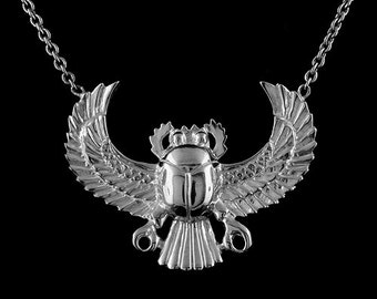 Sterling Silver 925 Egyptian Scarab Scarabeaus Amulet Necklace Pendant