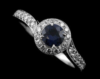 Sapphire Diamond Halo Engagement Ring, Asymmetrical Engagement Ring, Round Blue Sapphire Proposal Ring, Modern Style Diamond Milgrain Ring
