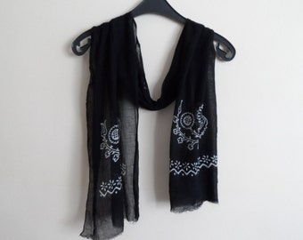 Cotton Mens Scarves, Womens Scarves, Unisex Scarf in Black and White, Hand Stamped