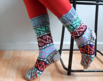 Hand Knit Wool Socks, Leg Warmers, Women Socks, Winter Accessories, Gift under 50