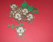 "Monkey Die Cuts (12) 2"" with green vines"