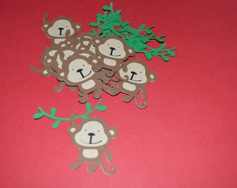 "Monkey Die Cuts (12) 2"" with green vines"