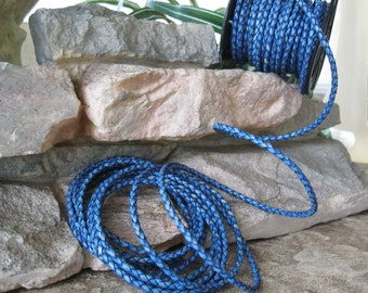 Braided Leather Bolo Cord Natural Western Blue 3 MM 2 Yard Sale