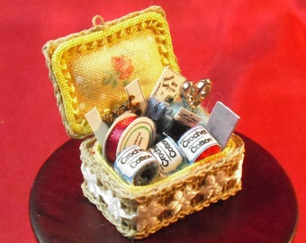 12th scale Dollhouse Miniature Sewing Basket/Workbox made by Snowflake Miniatures