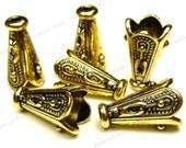 10 Bead Cap Cones 12x7mm Antique Gold Tone Metal - Carved Pattern, Scalloped Edges - BM11