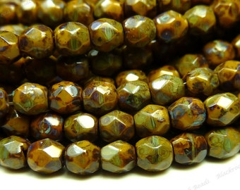 3mm Goldenrod Picasso Czech Glass Beads - 5 Inch Strand (50pcs) - Round, Faceted, Fire Polished - BD37