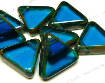 12mm Capri Blue Picasso Czech Glass Beads - 10pcs - Polished Triangles - BD43