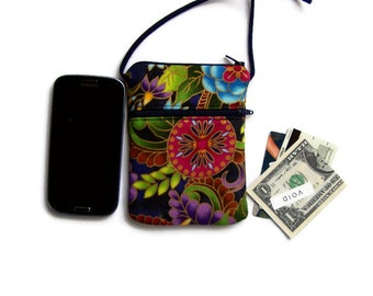 iPhone Crossbody, Small Purse, Hipster in Gold Kissed Garden Fabric