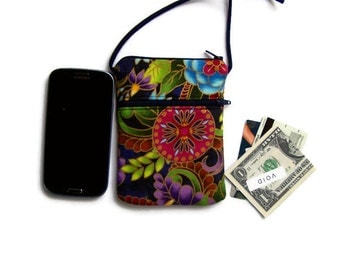 iPhone Crossbody Hipster or Wristlet in Gold Kissed Garden Fabric