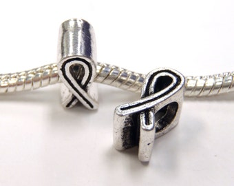 3 Beads - Simple Awareness Ribbon Silver European Bead Charm E1163