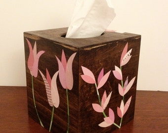 Tissue Box Cover, Wood with Pink Paper Decoupage Flower Collages, Dark FInish