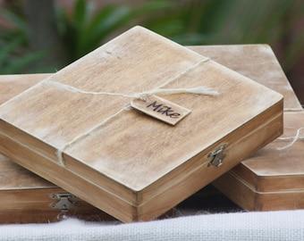 Set of 5 Personalized Rustic/Beach Groomsman Cigar Box/Gift