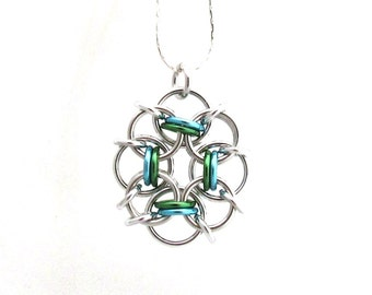 Blue and Green Pendant, Chain Maille Jewelry, Jump Ring Jewelry, Multicolor Pendant, Pastel Necklace