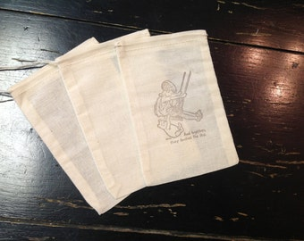 10 Winnie the Pooh Muslin Bags-Pooh Birthday Party Favors -Drawstring bags 4x6