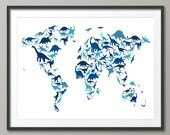 Dinosaur Map of the World Map, Art Print (583)