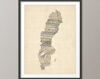 Sweden Old Sheet Music Map, Art Print (343)