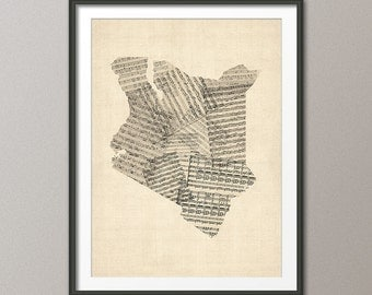 Kenya Old Sheet Music Map, Art Print (14)