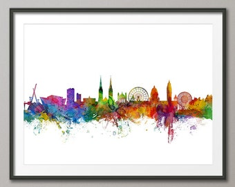 Belfast Skyline, Belfast Cityscape Northern Ireland Art Print (1032)