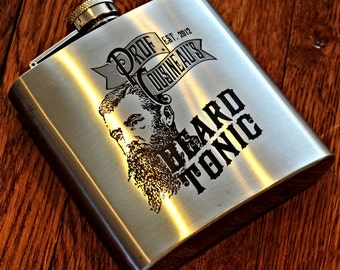 Stainless Steel Engraved Flask Groomsmen Gift, Tonic Label