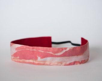 """Bacon Headband No Slipping Velvet Back Spoonflower Fabric 1.5"""""""
